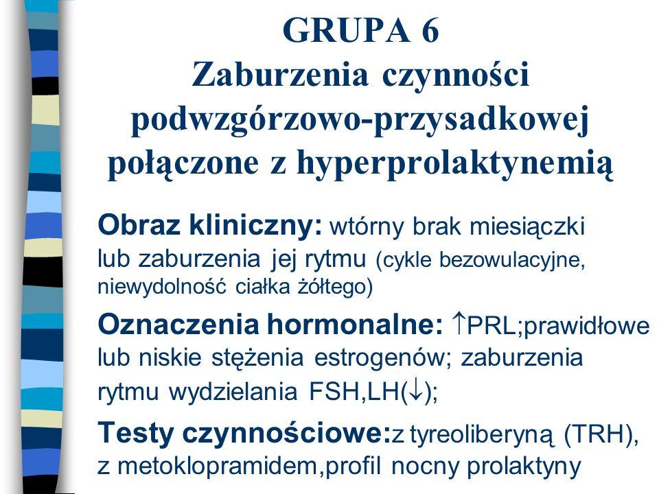 GRUPA 6 Zaburzenia czynności podwzgórzowo-przysadkowej połączone z hyperprolaktynemią n Obraz kliniczny: wtórny brak miesiączki lub zaburzenia jej ryt