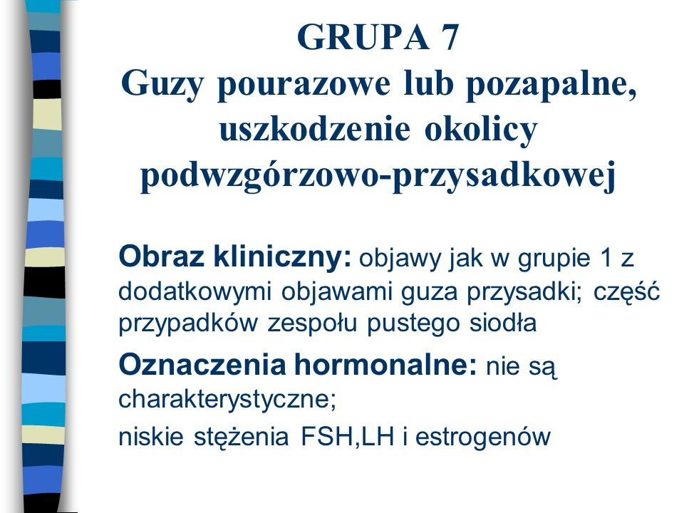 GRUPA 7 Guzy pourazowe lub pozapalne, uszkodzenie okolicy podwzgórzowo-przysadkowej n Obraz kliniczny: objawy jak w grupie 1 z dodatkowymi objawami gu
