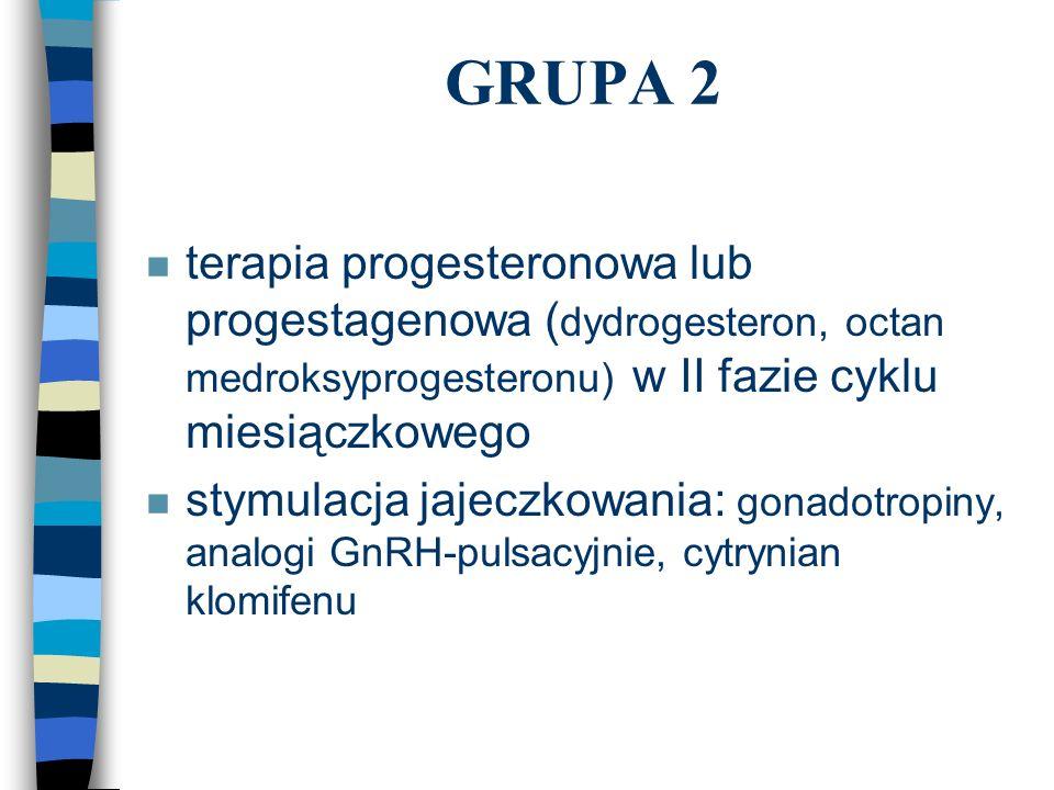 GRUPA 2 n terapia progesteronowa lub progestagenowa ( dydrogesteron, octan medroksyprogesteronu) w II fazie cyklu miesiączkowego n stymulacja jajeczko