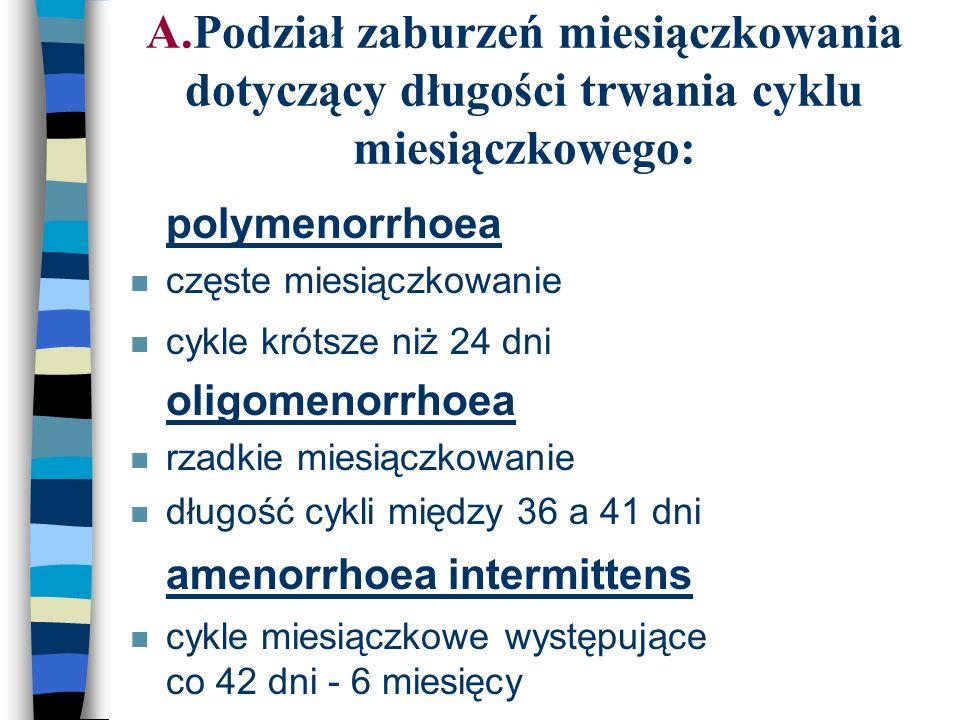 A.Podział zaburzeń miesiączkowania dotyczący długości trwania cyklu miesiączkowego: n polymenorrhoea n częste miesiączkowanie n cykle krótsze niż 24 d