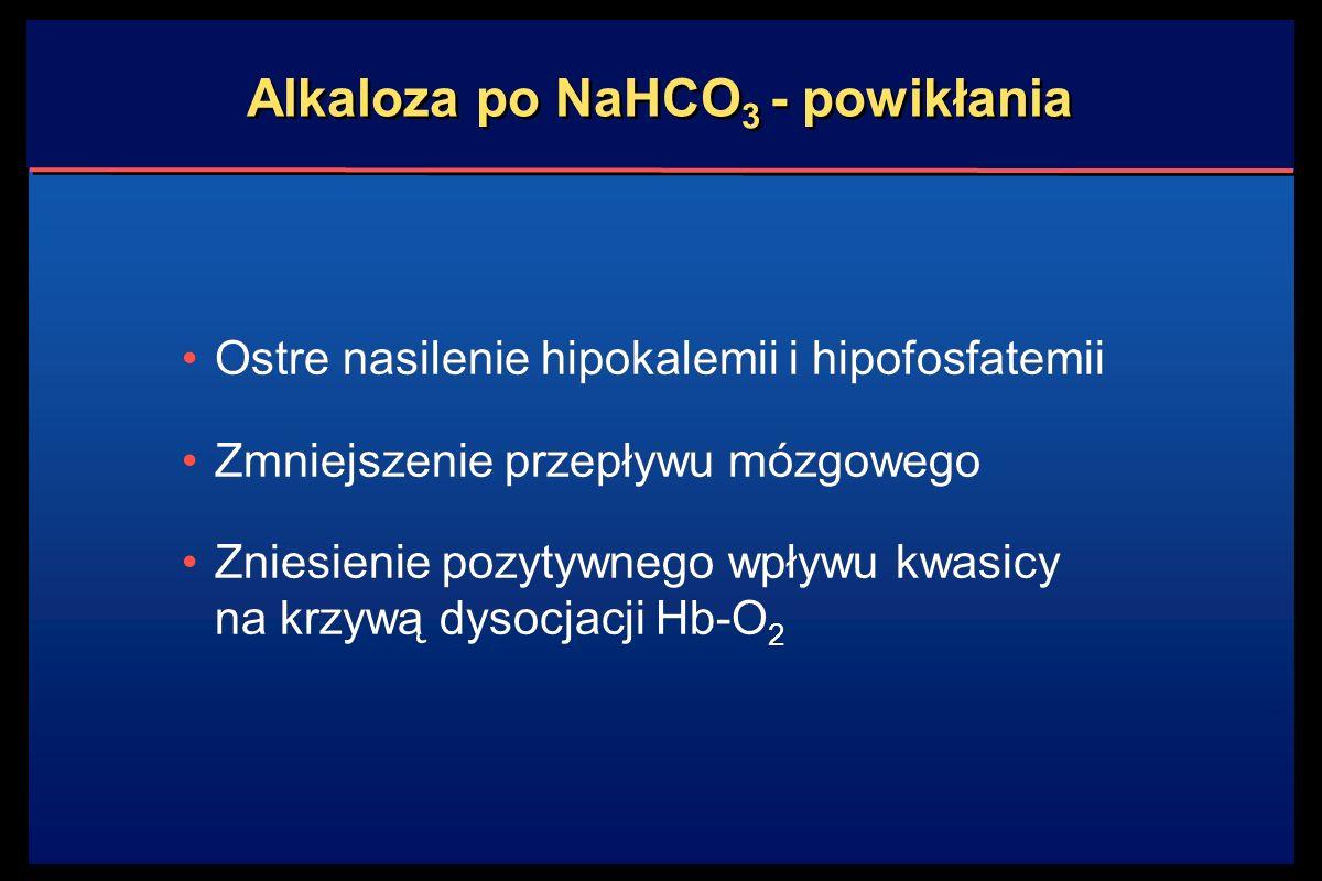 Alkaloza po NaHCO 3 - powikłania Ostre nasilenie hipokalemii i hipofosfatemii Zmniejszenie przepływu mózgowego Zniesienie pozytywnego wpływu kwasicy na krzywą dysocjacji Hb-O 2 Ostre nasilenie hipokalemii i hipofosfatemii Zmniejszenie przepływu mózgowego Zniesienie pozytywnego wpływu kwasicy na krzywą dysocjacji Hb-O 2