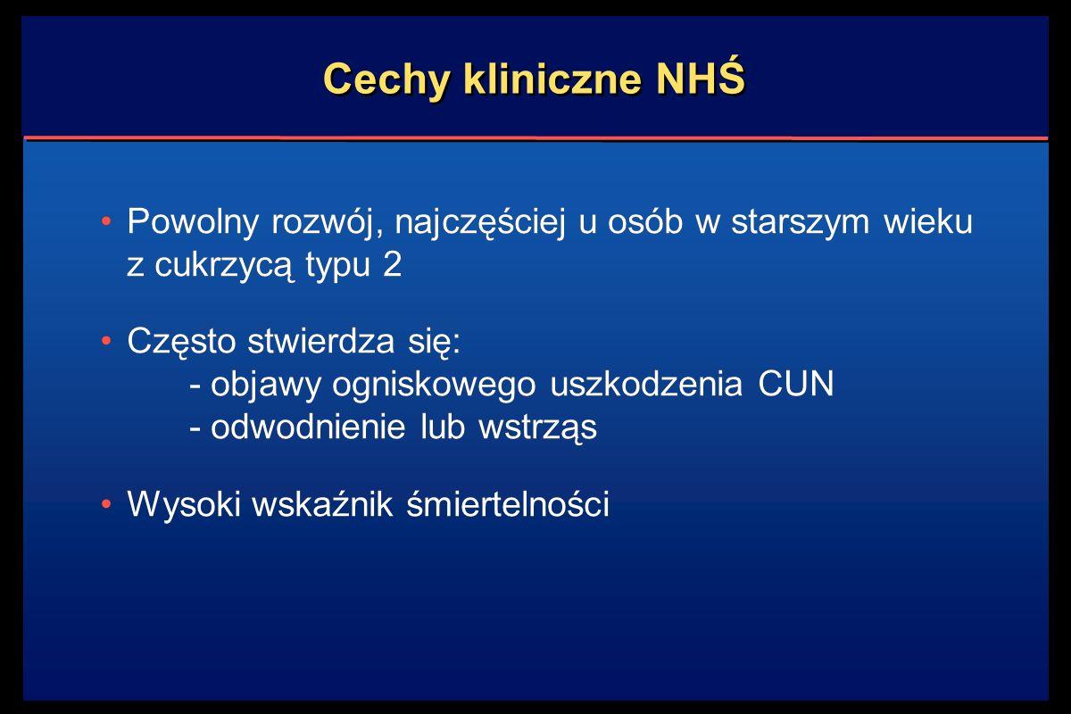 Cechy kliniczne NHŚ Powolny rozwój, najczęściej u osób w starszym wieku z cukrzycą typu 2 Często stwierdza się: - objawy ogniskowego uszkodzenia CUN -