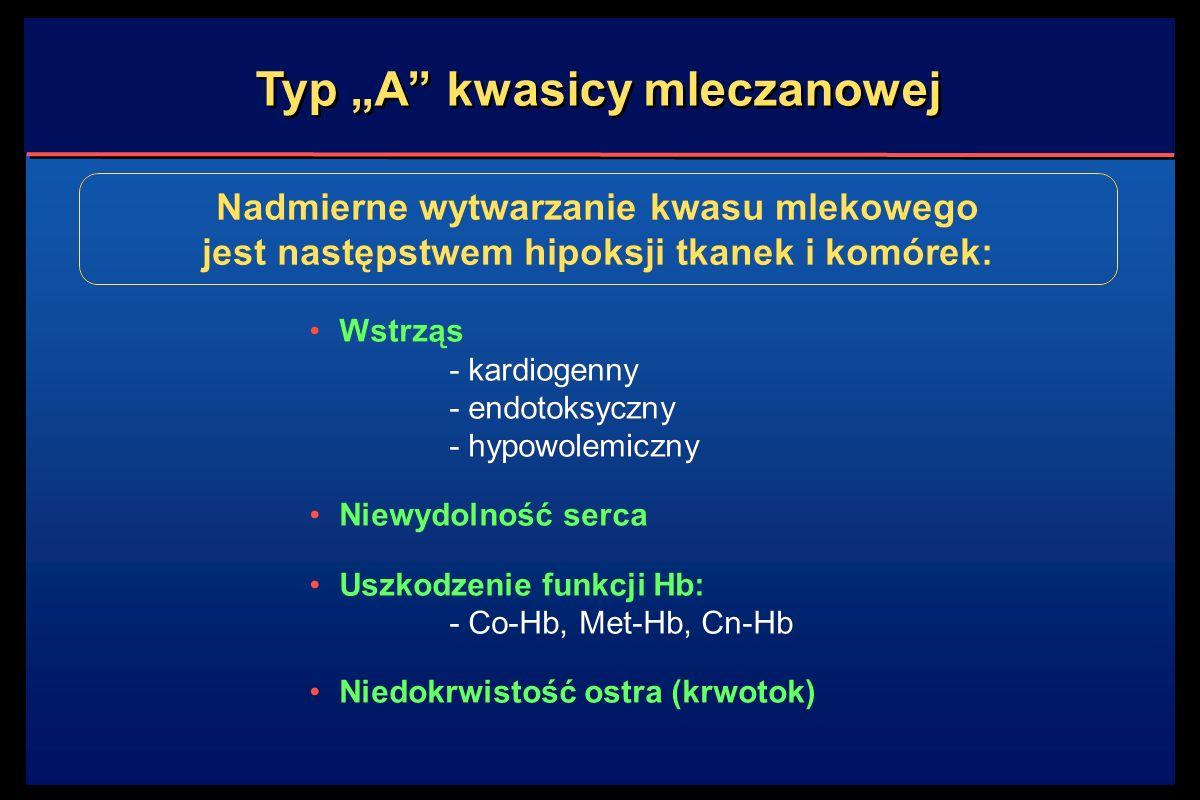 """Typ """"A kwasicy mleczanowej Wstrząs - kardiogenny - endotoksyczny - hypowolemiczny Niewydolność serca Uszkodzenie funkcji Hb: - Co-Hb, Met-Hb, Cn-Hb Niedokrwistość ostra (krwotok) Wstrząs - kardiogenny - endotoksyczny - hypowolemiczny Niewydolność serca Uszkodzenie funkcji Hb: - Co-Hb, Met-Hb, Cn-Hb Niedokrwistość ostra (krwotok) Nadmierne wytwarzanie kwasu mlekowego jest następstwem hipoksji tkanek i komórek:"""