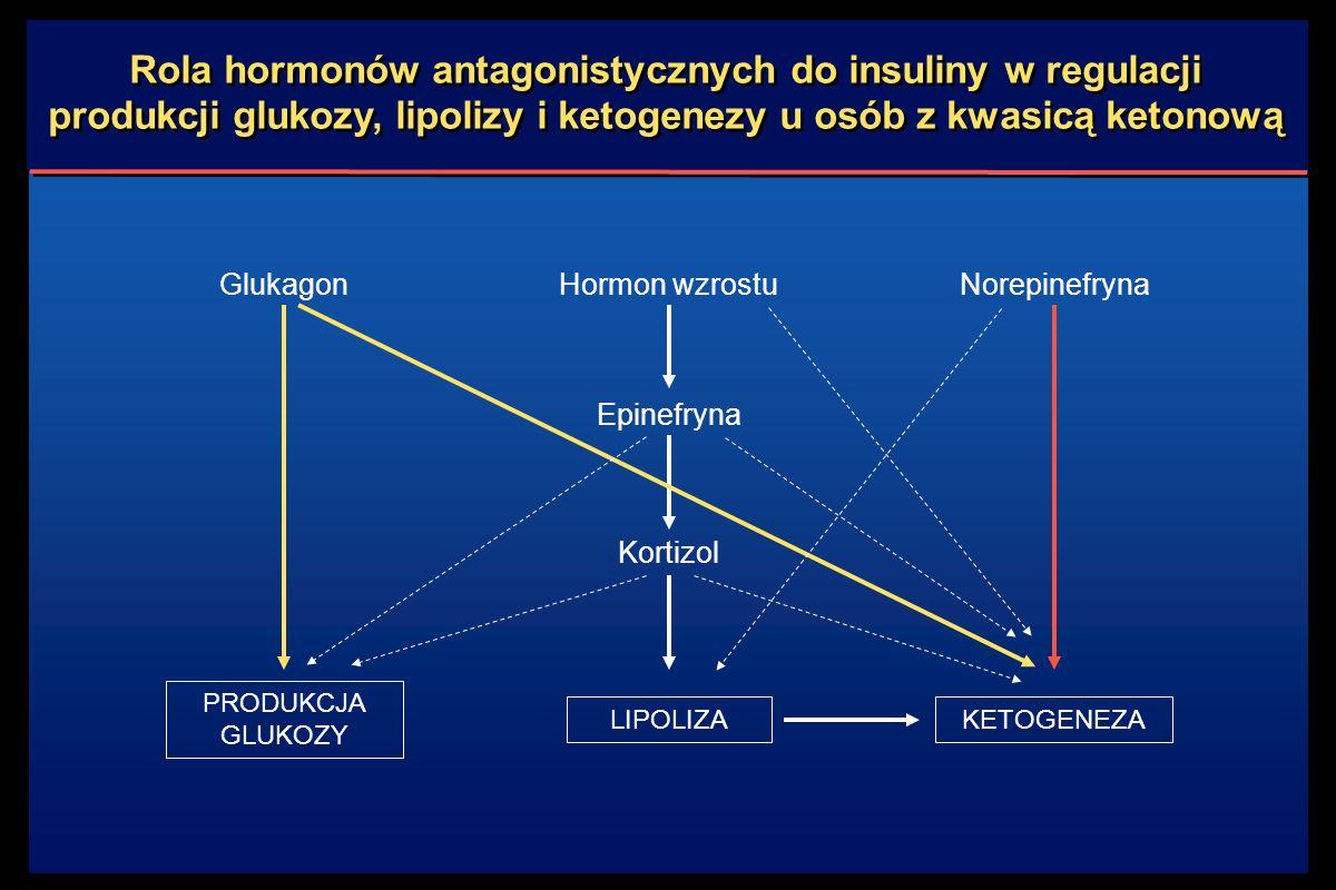 Rola hormonów antagonistycznych do insuliny w regulacji produkcji glukozy, lipolizy i ketogenezy u osób z kwasicą ketonową LIPOLIZA Hormon wzrostu Epinefryna Kortizol KETOGENEZA Norepinefryna PRODUKCJA GLUKOZY Glukagon