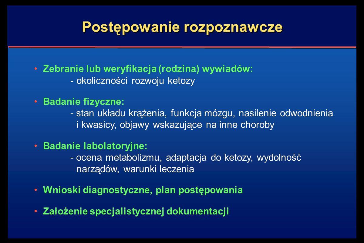 Postępowanie rozpoznawcze Zebranie lub weryfikacja (rodzina) wywiadów: -okoliczności rozwoju ketozy Badanie fizyczne: - stan układu krążenia, funkcja mózgu, nasilenie odwodnienia i kwasicy, objawy wskazujące na inne choroby Badanie labolatoryjne: - ocena metabolizmu, adaptacja do ketozy, wydolność narządów, warunki leczenia Wnioski diagnostyczne, plan postępowania Założenie specjalistycznej dokumentacji Zebranie lub weryfikacja (rodzina) wywiadów: -okoliczności rozwoju ketozy Badanie fizyczne: - stan układu krążenia, funkcja mózgu, nasilenie odwodnienia i kwasicy, objawy wskazujące na inne choroby Badanie labolatoryjne: - ocena metabolizmu, adaptacja do ketozy, wydolność narządów, warunki leczenia Wnioski diagnostyczne, plan postępowania Założenie specjalistycznej dokumentacji