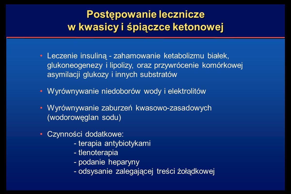 Postępowanie lecznicze w kwasicy i śpiączce ketonowej Leczenie insuliną - zahamowanie ketabolizmu białek, glukoneogenezy i lipolizy, oraz przywrócenie komórkowej asymilacji glukozy i innych substratów Wyrównywanie niedoborów wody i elektrolitów Wyrównywanie zaburzeń kwasowo-zasadowych (wodorowęglan sodu) Czynności dodatkowe: - terapia antybiotykami - tlenoterapia - podanie heparyny - odsysanie zalegającej treści żołądkowej Leczenie insuliną - zahamowanie ketabolizmu białek, glukoneogenezy i lipolizy, oraz przywrócenie komórkowej asymilacji glukozy i innych substratów Wyrównywanie niedoborów wody i elektrolitów Wyrównywanie zaburzeń kwasowo-zasadowych (wodorowęglan sodu) Czynności dodatkowe: - terapia antybiotykami - tlenoterapia - podanie heparyny - odsysanie zalegającej treści żołądkowej