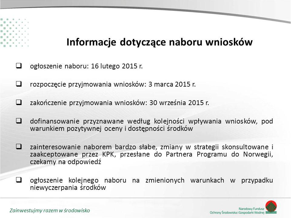 Zainwestujmy razem w środowisko Informacje dotyczące naboru wniosków  ogłoszenie naboru: 16 lutego 2015 r.  rozpoczęcie przyjmowania wniosków: 3 mar