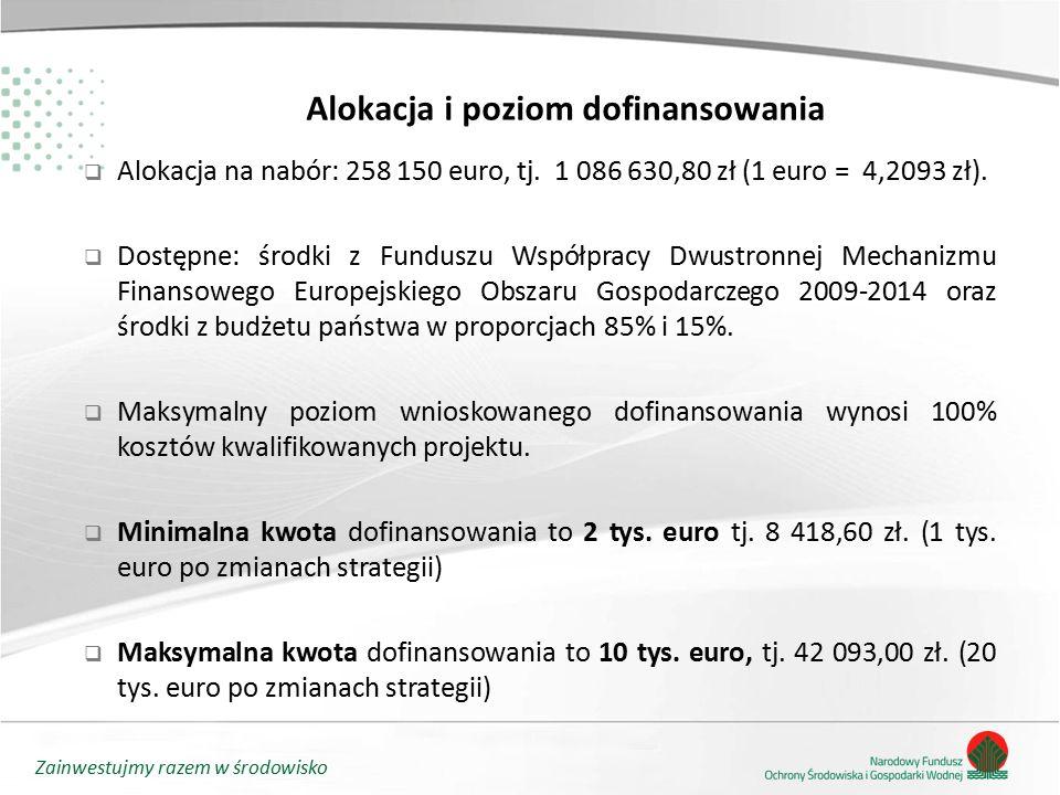 Zainwestujmy razem w środowisko Alokacja i poziom dofinansowania  Alokacja na nabór: 258 150 euro, tj. 1 086 630,80 zł (1 euro = 4,2093 zł).  Dostęp