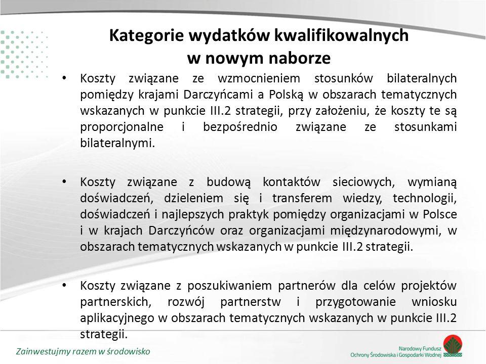 Zainwestujmy razem w środowisko Kategorie wydatków kwalifikowalnych w nowym naborze Koszty związane ze wzmocnieniem stosunków bilateralnych pomiędzy k