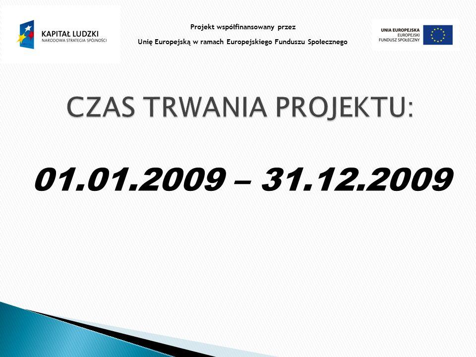 01.01.2009 – 31.12.2009 Projekt współfinansowany przez Unię Europejską w ramach Europejskiego Funduszu Społecznego