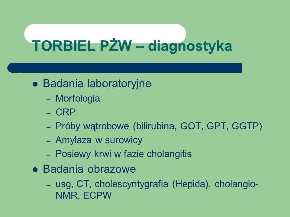 TORBIEL PŻW – diagnostyka Badania laboratoryjne – Morfologia – CRP – Próby wątrobowe (bilirubina, GOT, GPT, GGTP) – Amylaza w surowicy – Posiewy krwi