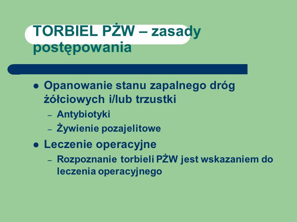 TORBIEL PŻW – zasady postępowania Opanowanie stanu zapalnego dróg żółciowych i/lub trzustki – Antybiotyki – Żywienie pozajelitowe Leczenie operacyjne