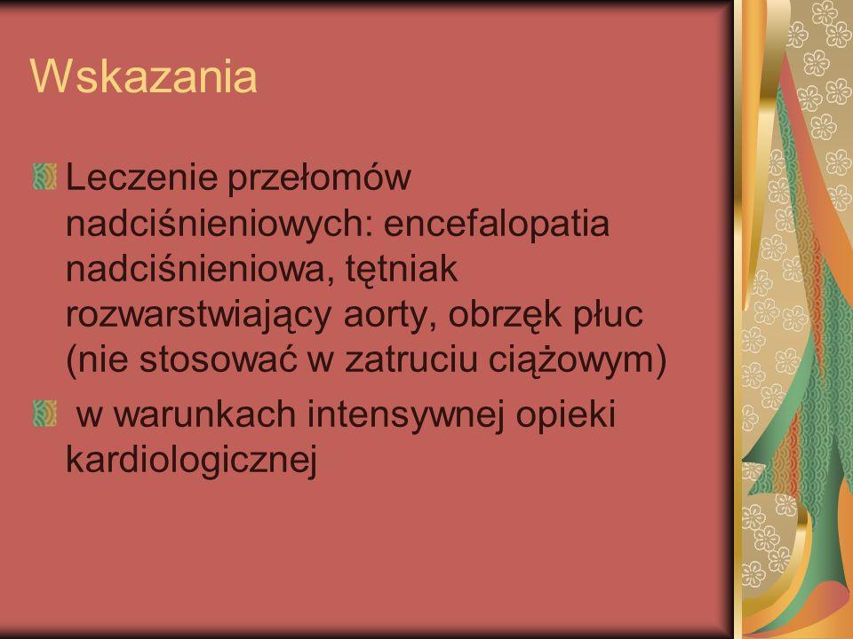 Wskazania Leczenie przełomów nadciśnieniowych: encefalopatia nadciśnieniowa, tętniak rozwarstwiający aorty, obrzęk płuc (nie stosować w zatruciu ciążo
