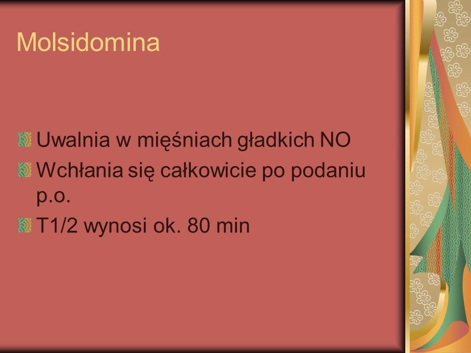 Molsidomina Uwalnia w mięśniach gładkich NO Wchłania się całkowicie po podaniu p.o. T1/2 wynosi ok. 80 min