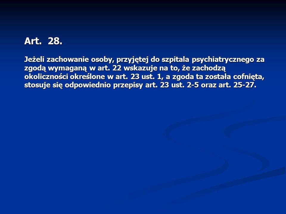 Art. 28. Jeżeli zachowanie osoby, przyjętej do szpitala psychiatrycznego za zgodą wymaganą w art. 22 wskazuje na to, że zachodzą okoliczności określon