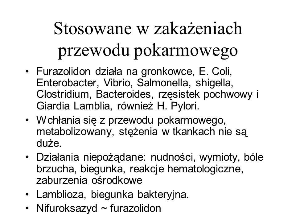 Stosowane w zakażeniach przewodu pokarmowego Furazolidon działa na gronkowce, E. Coli, Enterobacter, Vibrio, Salmonella, shigella, Clostridium, Bacter