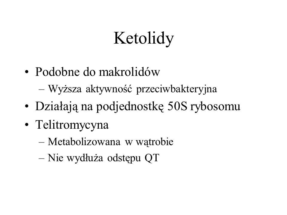 Ketolidy Podobne do makrolidów –Wyższa aktywność przeciwbakteryjna Działają na podjednostkę 50S rybosomu Telitromycyna –Metabolizowana w wątrobie –Nie
