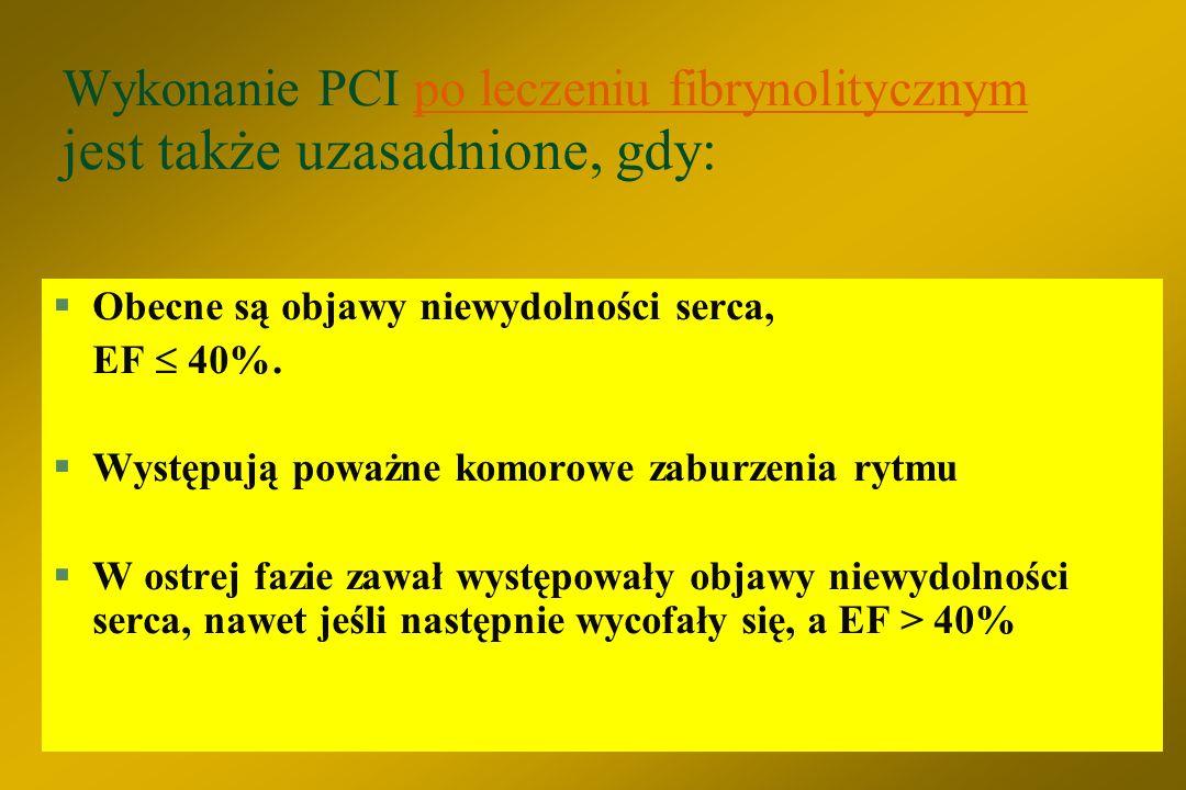 PCI po leczeniu fibrynolitycznym jest wskazane w przypadku: (pod warunkiem, że anatomia zmian jest odpowiednia do wykonania PCI) §Dorzut zawału - obie