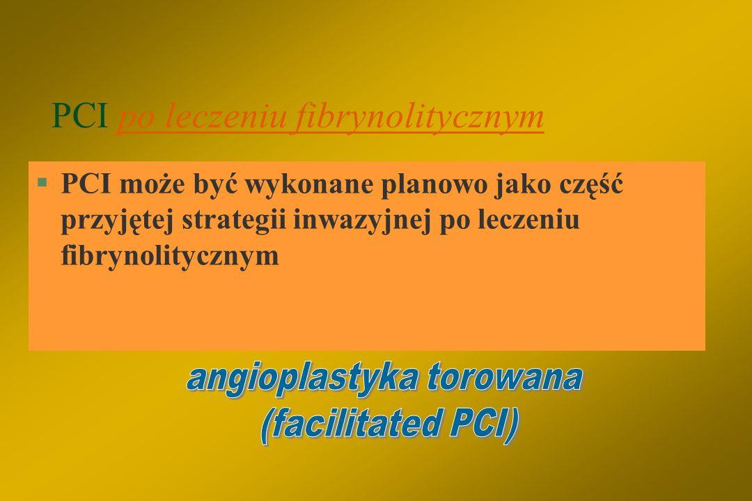 Wykonanie PCI po leczeniu fibrynolitycznym jest także uzasadnione, gdy: §Obecne są objawy niewydolności serca, EF  40%. §Występują poważne komorowe z