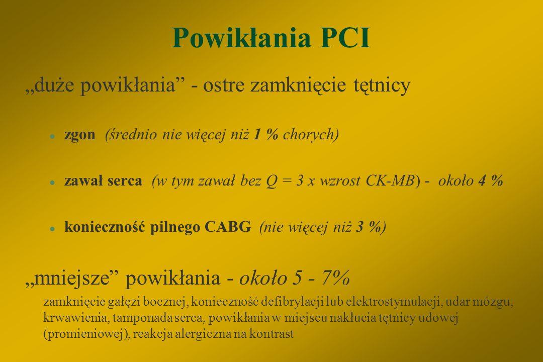 Przeciwwskazania do PCI a) bezwzględne §zwężenie < 50 % średnicy naczynia §rozsiane zwężenia tętnicy §istotne zwężenia pnia, przy braku drożnego pomos