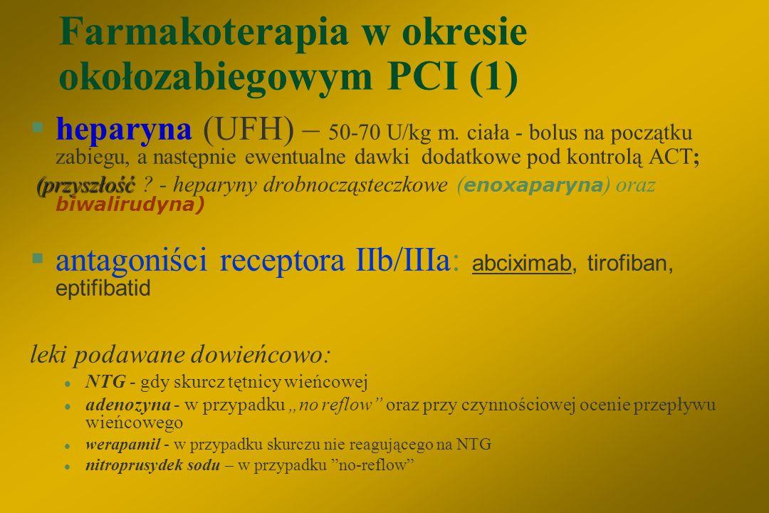 Ważniejsze czynniki ryzyka wystąpienia powikłań PCI A) kliniczne: §wiek > 65 lat §niestabilna choroba wieńcowa lub AMI §wstrząs kardiogenny §niewyrówn