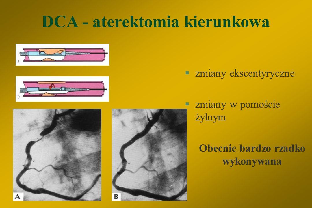 """Ważniejsze czynniki ryzyka wystąpienia powikłań PCI A) kliniczne: §wiek > 65 lat §niestabilna choroba wieńcowa lub AMI §wstrząs kardiogenny §niewyrównana niewydolność serca §uprzedni zabieg CABG B) angiograficzne: §niekorzystna morfologia zwężenia §choroba wielonaczyniowa §duży obszar zagrożenia serca (""""jeopardy score ) §EF < 35% §nagłe zamknięcie tętnicy w czasie zabiegu"""
