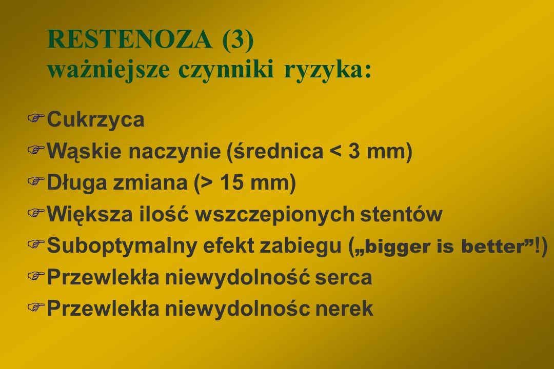 RESTENOZA (2) mechanizm:  okres wczesny – elastic recoil  zakrzep w miejscu poszerzanym i jego organizacja  negatywny remodeling tętnicy  prolifer