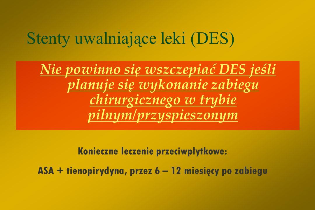 Wskazania do stentów uwalniających leki - DES (IIa C) § Małe naczynia § Całkowita przewlekła niedrożność § Bifurkacje/zmiany ostialne § Zwężenia w pom