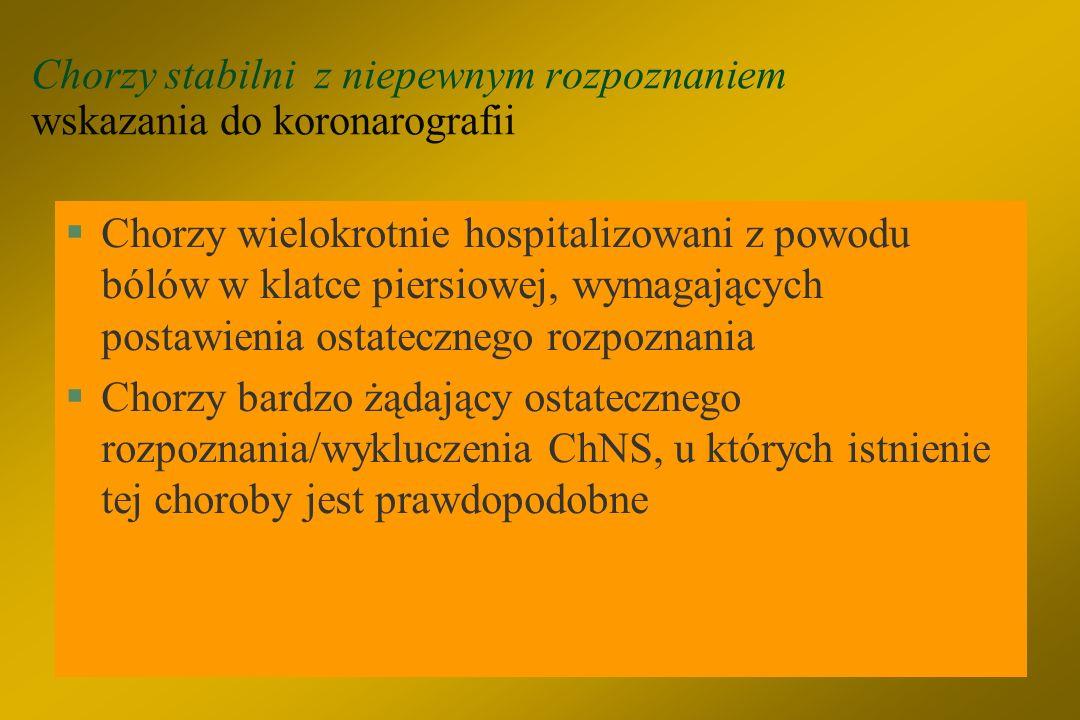Chorzy objawowi z już rozpoznaną ChNS wskazania do koronarografii §Dławica CCS 1 – 2, EF >45%, bez wybitnie dodatniego wyniku testu nieinwazyjnego §Po