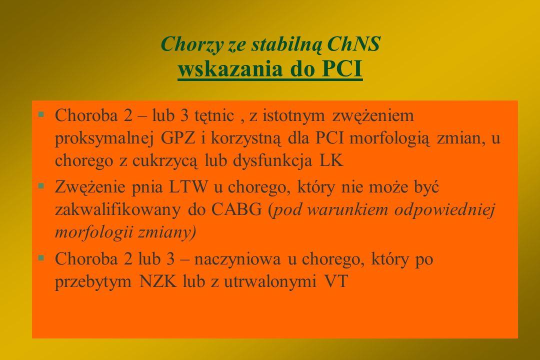 Chorzy ze stabilną ChNS wskazania do PCI §Krótkie zwężenie żylnego pomostu aortalno-wieńcowego §Wielopunktowe zwężenie pomostu aortalno-wieńcowego u c