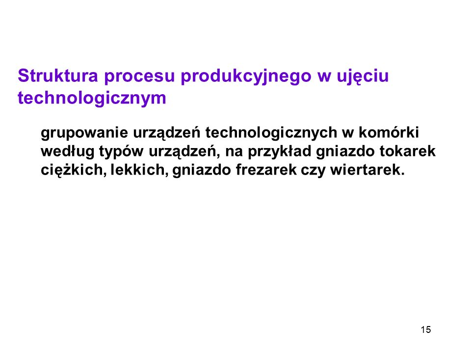15 Struktura procesu produkcyjnego w ujęciu technologicznym grupowanie urządzeń technologicznych w komórki według typów urządzeń, na przykład gniazdo