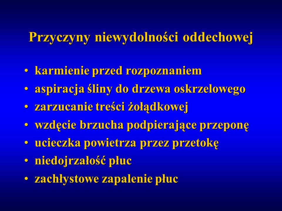 Przyczyny niewydolności oddechowej karmienie przed rozpoznaniemkarmienie przed rozpoznaniem aspiracja śliny do drzewa oskrzelowegoaspiracja śliny do d