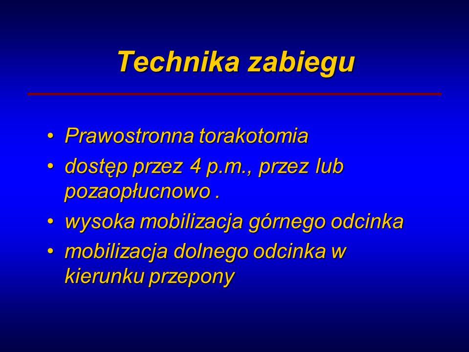 Technika zabiegu Prawostronna torakotomiaPrawostronna torakotomia dostęp przez 4 p.m., przez lub pozaopłucnowo.dostęp przez 4 p.m., przez lub pozaopłu
