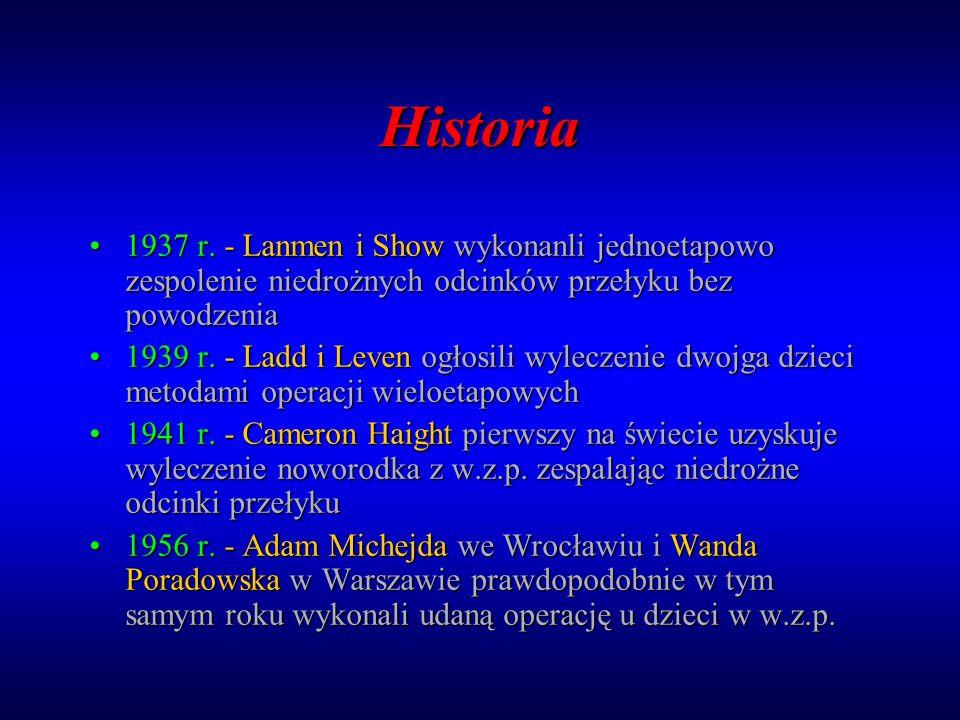 Historia 1937 r. - Lanmen i Show wykonanli jednoetapowo zespolenie niedrożnych odcinków przełyku bez powodzenia1937 r. - Lanmen i Show wykonanli jedno