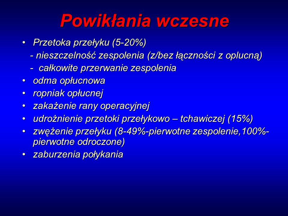 Powikłania wczesne Przetoka przełyku (5-20%)Przetoka przełyku (5-20%) - nieszczelność zespolenia (z/bez łączności z oplucną) - nieszczelność zespoleni