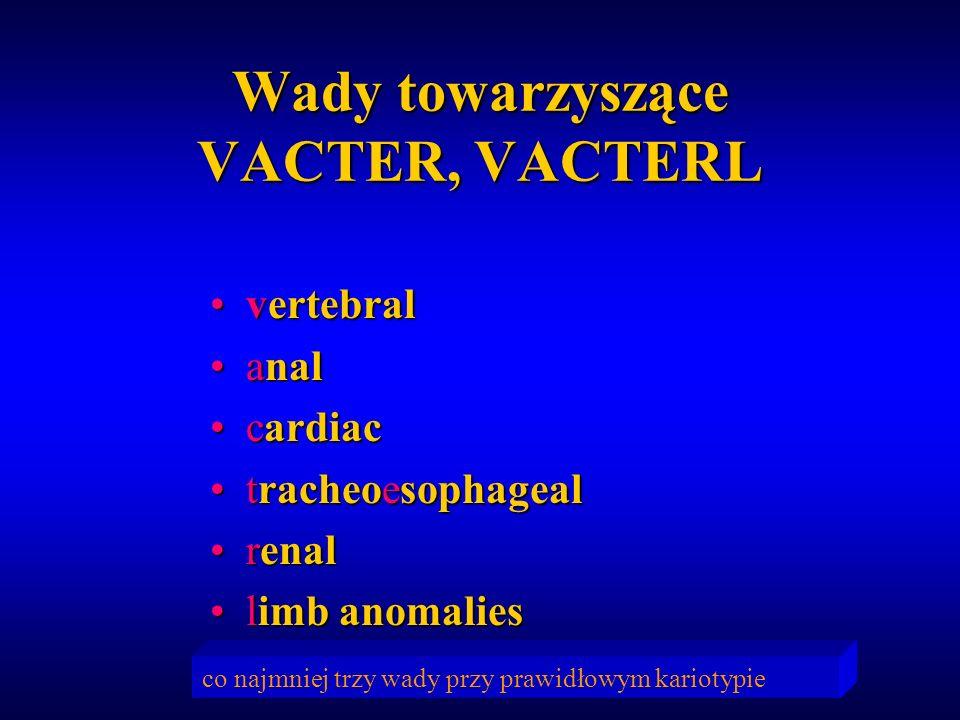 Wady towarzyszące VACTER, VACTERL vertebralvertebral analanal cardiaccardiac tracheoesophagealtracheoesophageal renalrenal limb anomalieslimb anomalie