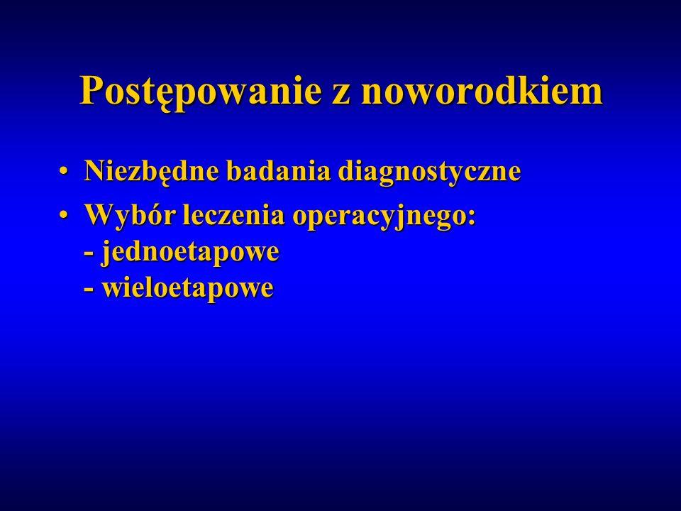 Postępowanie z noworodkiem Niezbędne badania diagnostyczneNiezbędne badania diagnostyczne Wybór leczenia operacyjnego: - jednoetapowe - wieloetapoweWy
