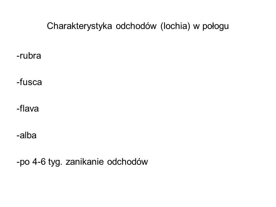Charakterystyka odchodów (lochia) w połogu -rubra -fusca -flava -alba -po 4-6 tyg. zanikanie odchodów