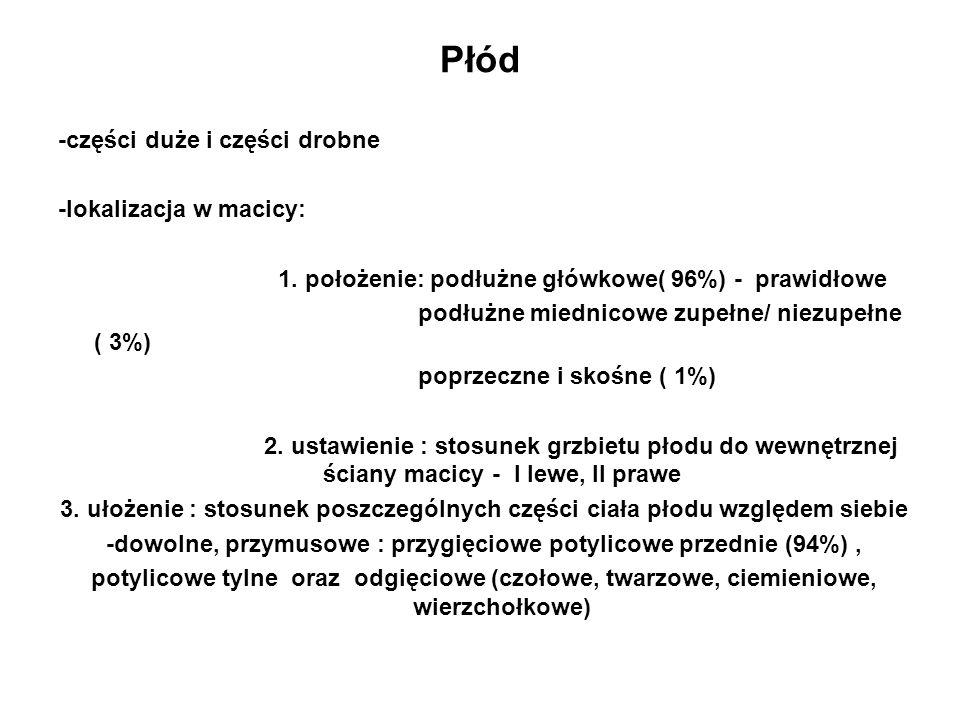 Płód -części duże i części drobne -lokalizacja w macicy: 1. położenie: podłużne główkowe( 96%) - prawidłowe podłużne miednicowe zupełne/ niezupełne (
