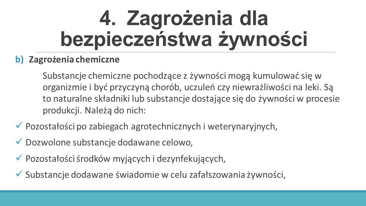 4.Zagrożenia dla bezpieczeństwa żywności b)Zagrożenia chemiczne Substancje chemiczne pochodzące z żywności mogą kumulować się w organizmie i być przyc