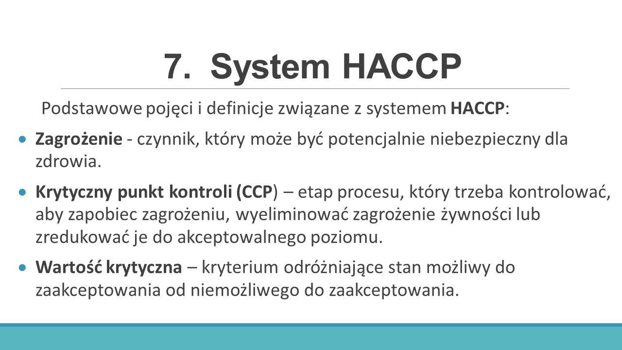 7.System HACCP Podstawowe pojęci i definicje związane z systemem HACCP:  Zagrożenie - czynnik, który może być potencjalnie niebezpieczny dla zdrowia.
