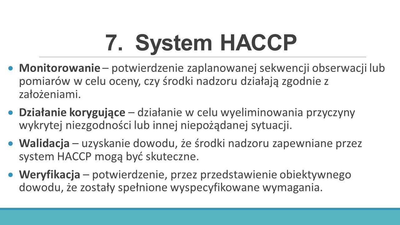 7.System HACCP  Monitorowanie – potwierdzenie zaplanowanej sekwencji obserwacji lub pomiarów w celu oceny, czy środki nadzoru działają zgodnie z zało