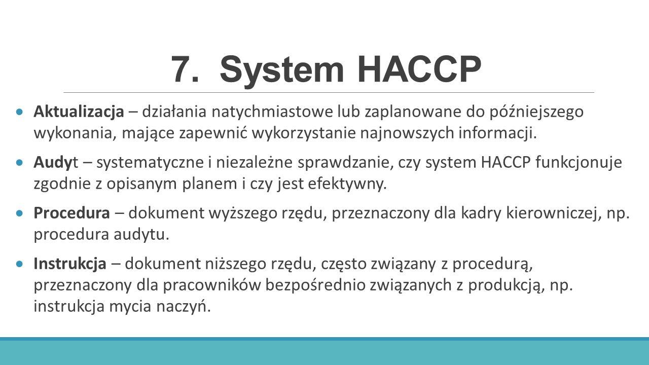 7.System HACCP  Aktualizacja – działania natychmiastowe lub zaplanowane do późniejszego wykonania, mające zapewnić wykorzystanie najnowszych informac