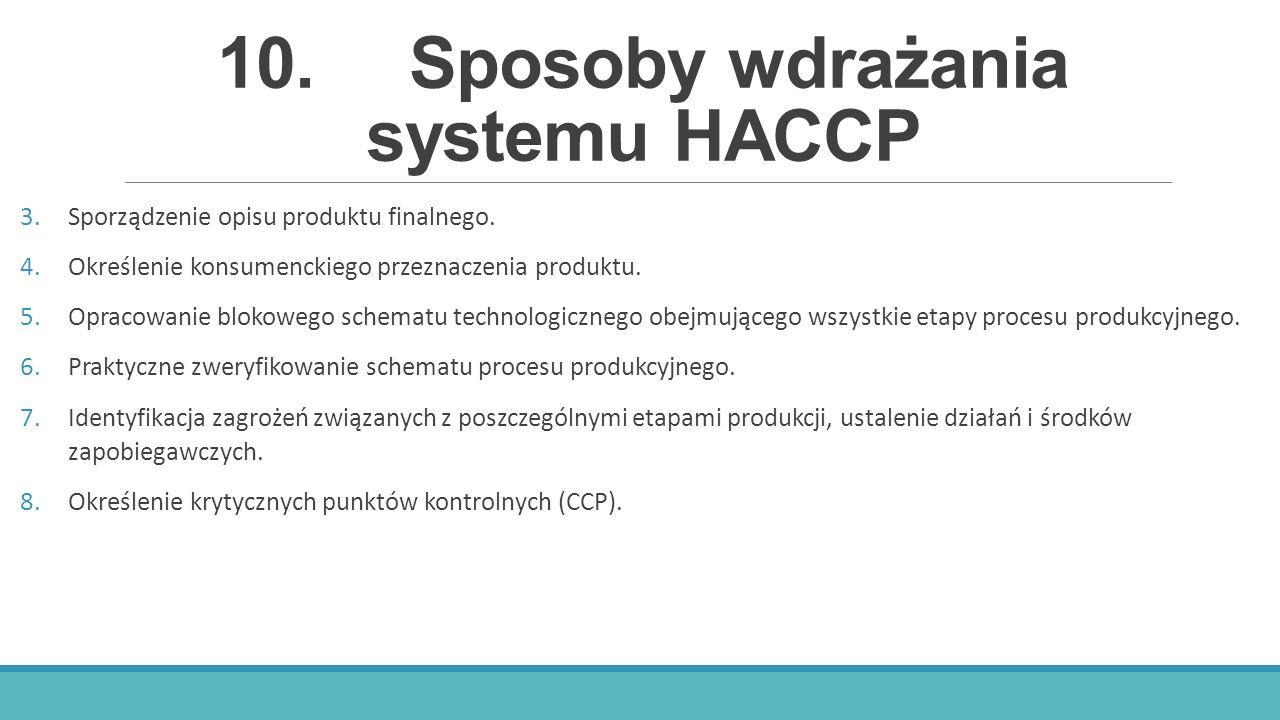 10.Sposoby wdrażania systemu HACCP 3.Sporządzenie opisu produktu finalnego. 4.Określenie konsumenckiego przeznaczenia produktu. 5.Opracowanie blokoweg