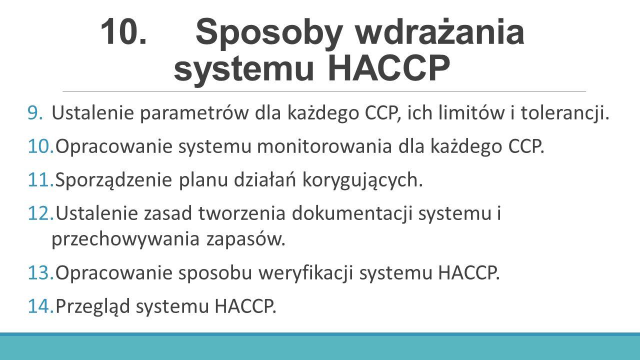 10.Sposoby wdrażania systemu HACCP 9.Ustalenie parametrów dla każdego CCP, ich limitów i tolerancji. 10.Opracowanie systemu monitorowania dla każdego