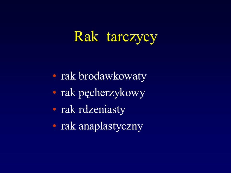 Leczenie raka zróżnicowanego tarczycy Całkowite wycięcie raka tarczycy ( za wyjątkiem raka brodawkowatego pT1aN0M0 ) restrumektomia w przypadku jodochwytności kikutów >20% po pierwszej strumektomii ablacja kikutów tarczycy przy jodochwytności 1-20% leczenie przerzutów raka tarczycy 1.