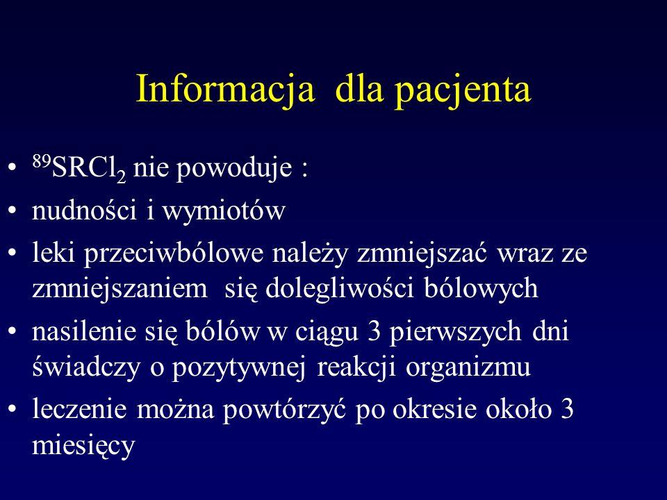 Informacja dla pacjenta 89 SRCl 2 nie powoduje : nudności i wymiotów leki przeciwbólowe należy zmniejszać wraz ze zmniejszaniem się dolegliwości bólow