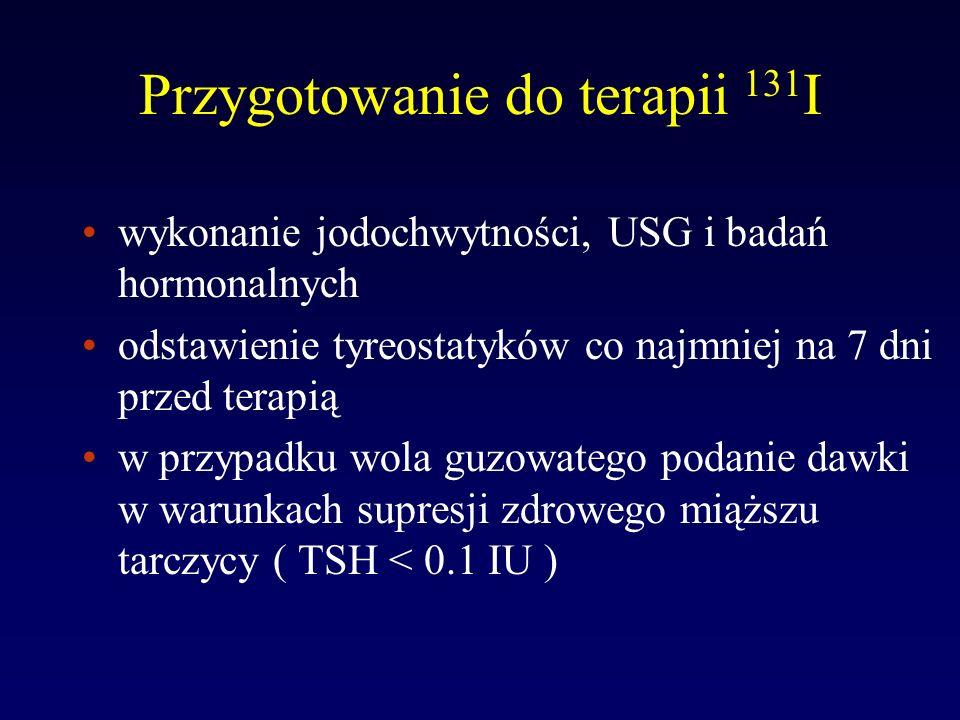 Środki obniżające wychwyt 131 I 1 tydzień: tyreostatyki, nadchloran, azotany, salicylany, sulfonamidy, amiodaron, kortykoidy, bromki 2 tygodnie: płyn Lugola, krople do oczu z jodem, preparaty witaminowe 3 tygodnie: T 3, T 4 3-6 miesięcy: dożylne środki kontrastowe 2-10 lat: olejowe środki kontrastowe