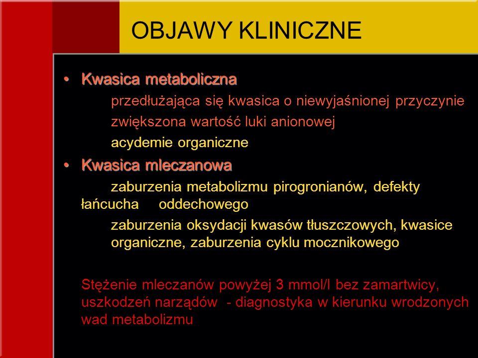 Kwasica metabolicznaKwasica metaboliczna przedłużająca się kwasica o niewyjaśnionej przyczynie zwiększona wartość luki anionowej acydemie organiczne K