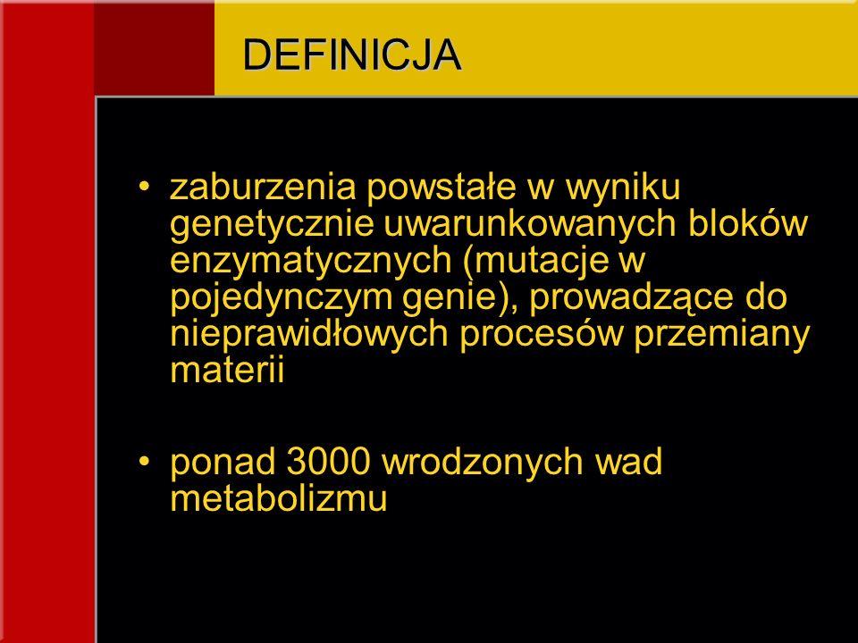 DEFINICJA zaburzenia powstałe w wyniku genetycznie uwarunkowanych bloków enzymatycznych (mutacje w pojedynczym genie), prowadzące do nieprawidłowych p